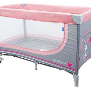 baby-mix-łóżeczko-jednopoziomowe-pink-miś-HR-8052